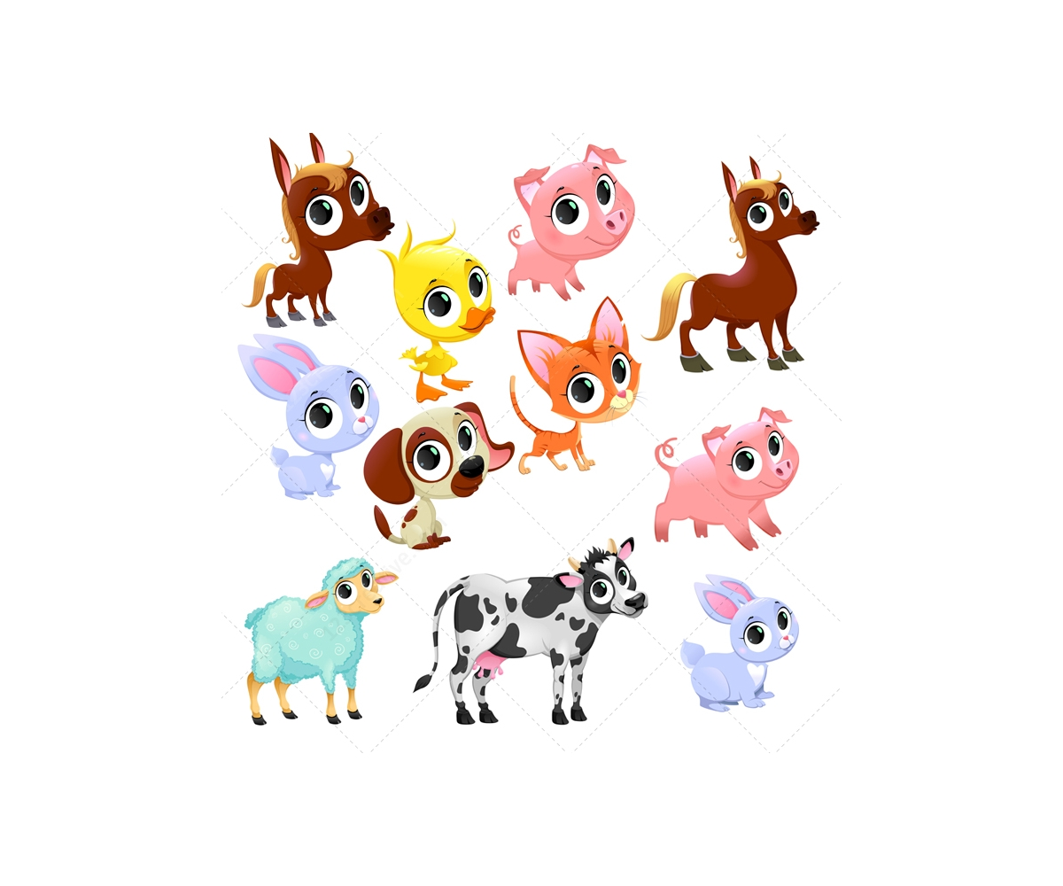 1200x1000 Farm Animal Vector Set