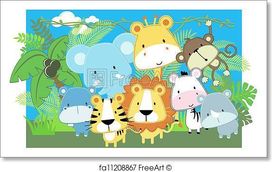 560x355 Free Art Print Of Vector Baby Animals Safari. Vector Illustration