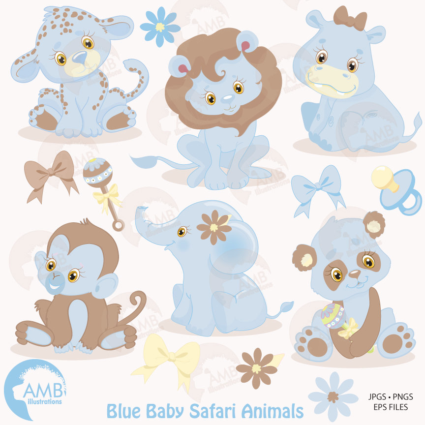 864x864 Jungle Animals Clipart, Jungle Animal Babies Clipart, Blue Baby