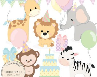 340x270 Professional Baby Jungle Animals Clipart Amp Vector Set Baby Etsy