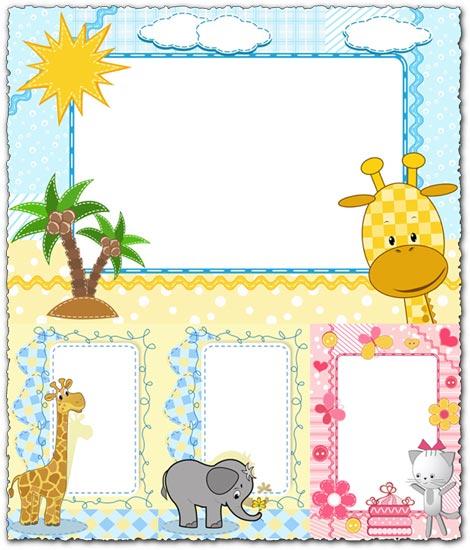 470x550 Cartoon Frames With Baby Animals Vectors