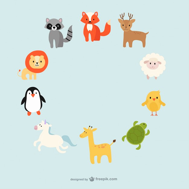 626x626 Cute Baby Animals Vector Lovely Cute Animals Circle Free Vector