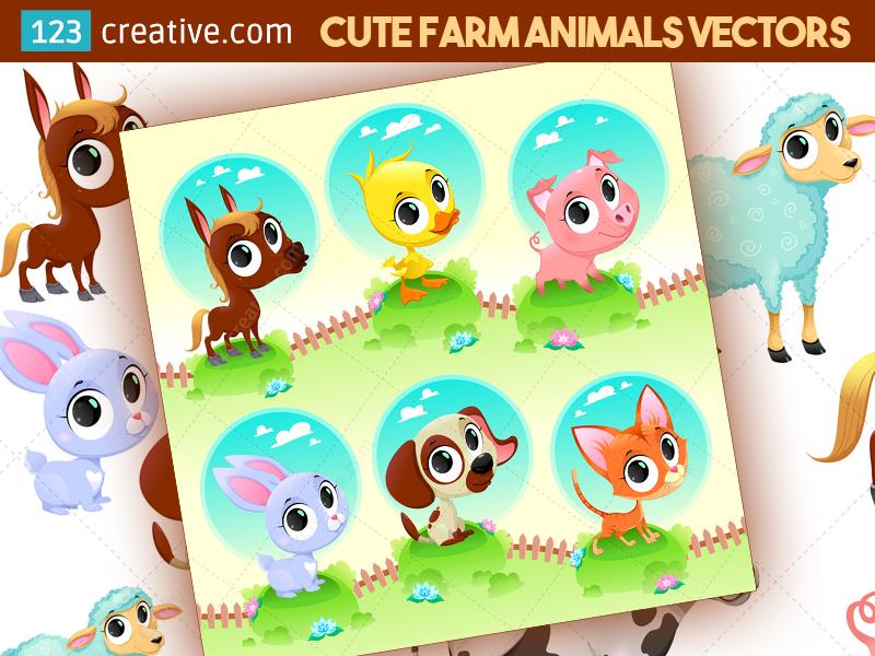 800x600 Cute Farm Animal Vector Set