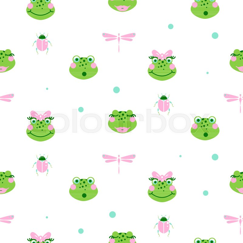 800x800 Cute Frogs And Dragonfly Seamless Vector Pattern. Green Baby