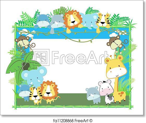 560x470 Free Art Print Of Baby Animals Frame Vector. Cute Jungle Baby