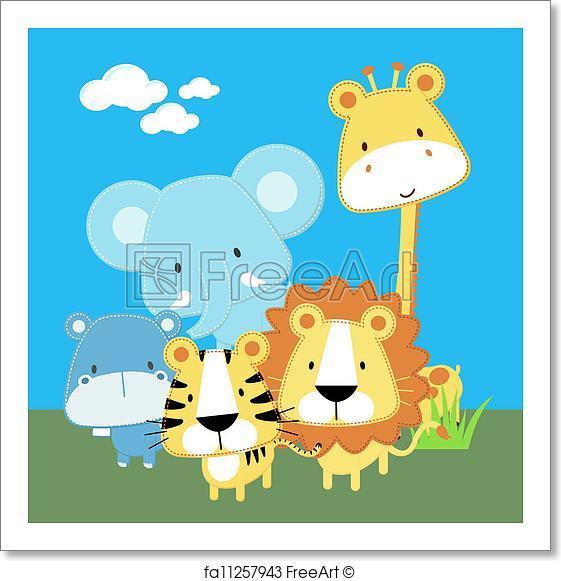 561x581 Free Art Print Of Cute Safari Baby Animals. Vector Illustration Of