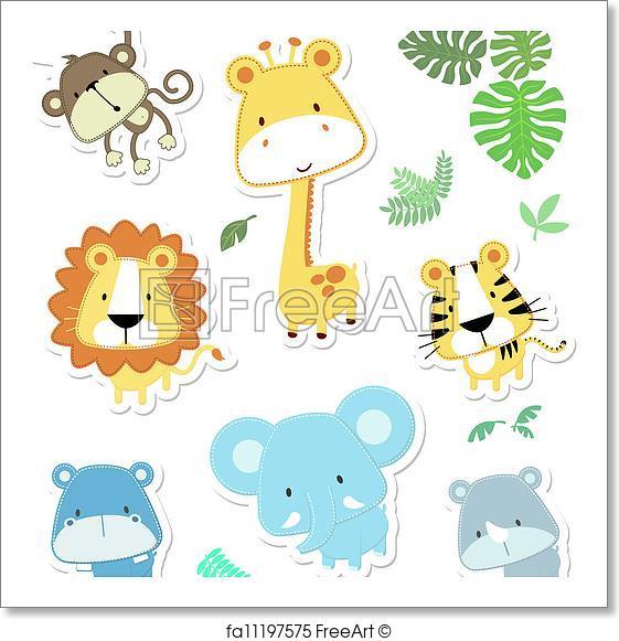 561x581 Free Art Print Of Cute Vector Animals. Vector Cartoon Illustration