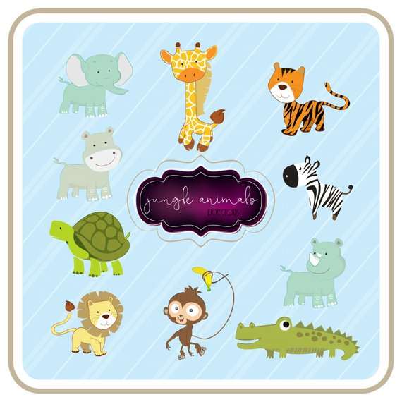 570x570 Jungle Animals Clipart Set Of 10 Cute Baby Animals Vector Etsy