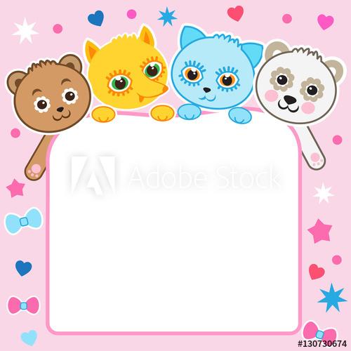 500x500 Nice Childish Cartoon Background. Baby Animals. Vector Kitten