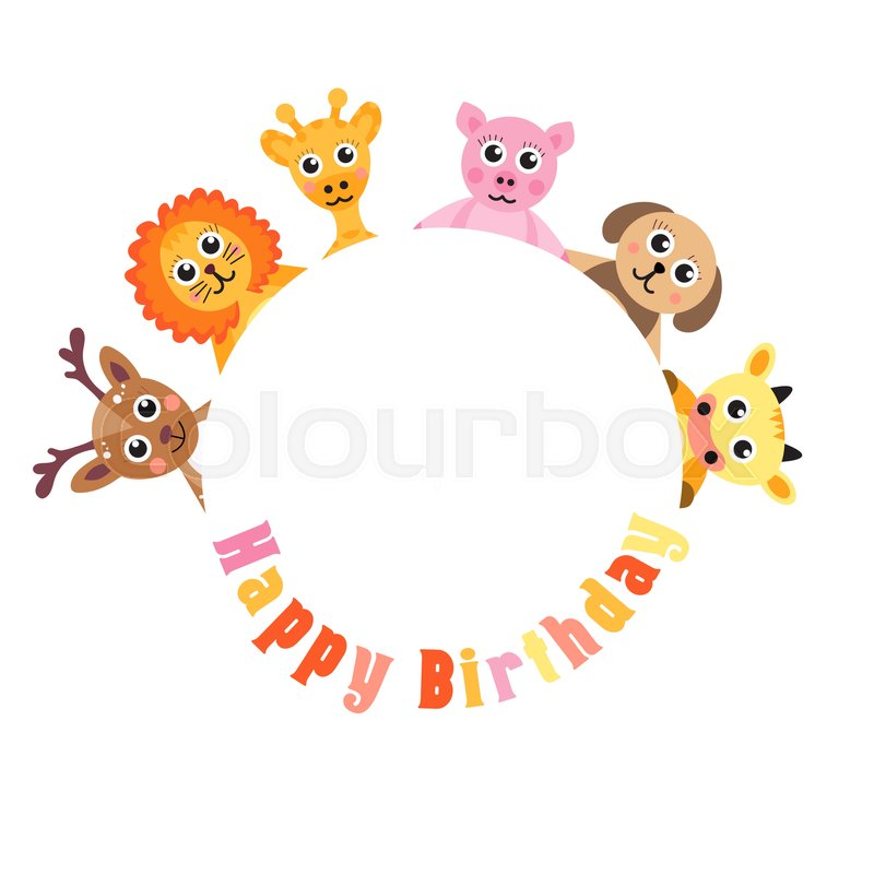 800x800 Postcard Happy Birthday, Cute Animals. Blank Space For Text Baby
