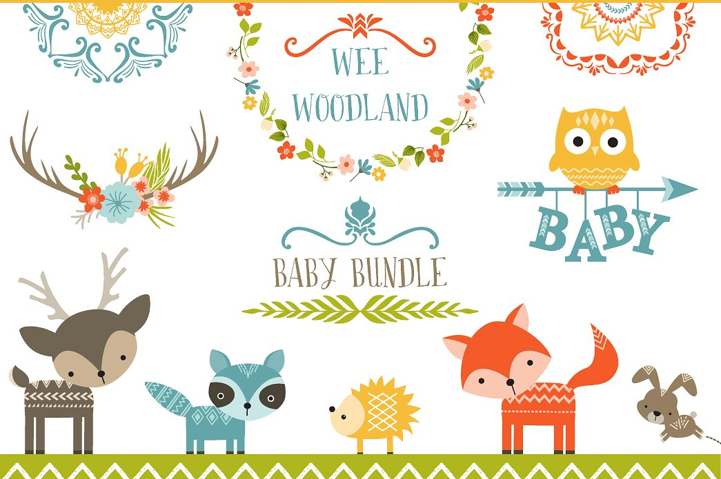 1045x695 Woodland Clipart Vector Cute Borders, Vectors, Animated, Black And
