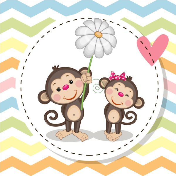 600x600 Lovely Cartoon Animal With Baby Cards Vectors 07