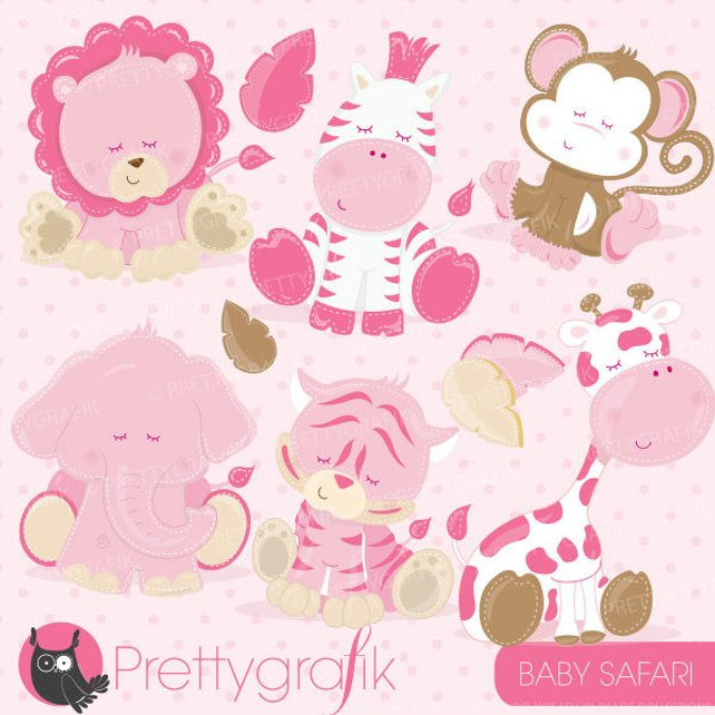 642x642 Baby Safari Animals Clipart Commercial Use Pink Baby Animals Etsy
