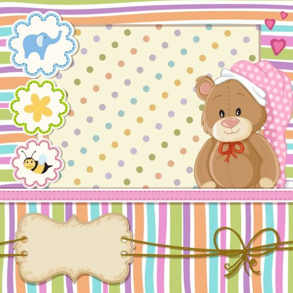 588x588 Baby Shower Cards With Cute Animals Vector 18 Free Download