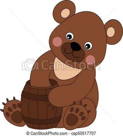428x470 Vector Cute Cartoon Bear. Vector Cute Cartoon Baby Bear With Honey