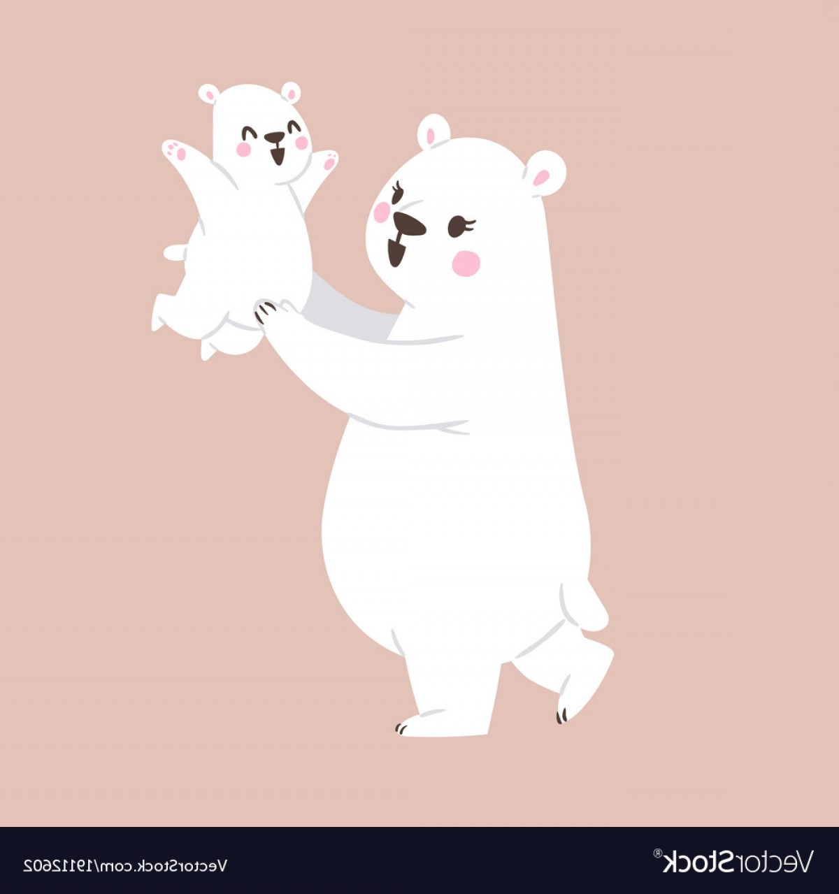 1200x1279 White Polar Bear Mother And Small Baby Bear Vector Geekchicpro