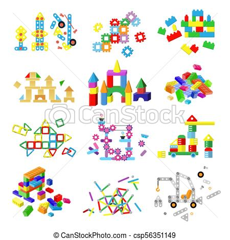 450x470 Kids Building Blocks Vector Baby Toy Colorful Bricks To Build Or