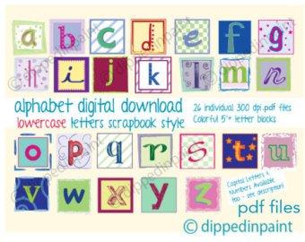 340x270 Pdf 2.25 Baby Block Letters Alphabet Clip Art Etsy