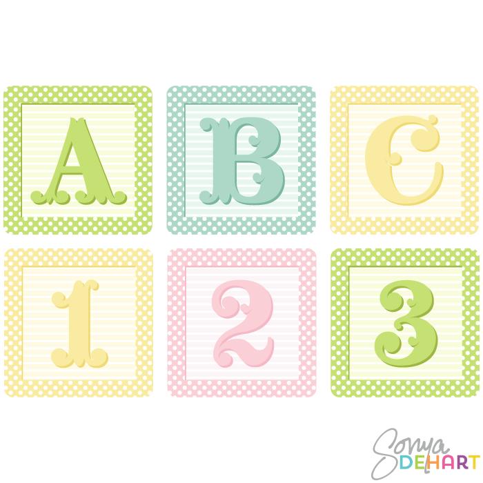 700x700 Vector Shaby French Baby Blocks Alphabet Clip Art Set