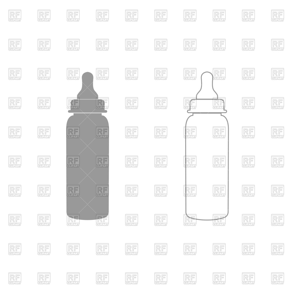 1200x1200 Baby Bottle Silhouette And Outline Vector Image Vector Artwork