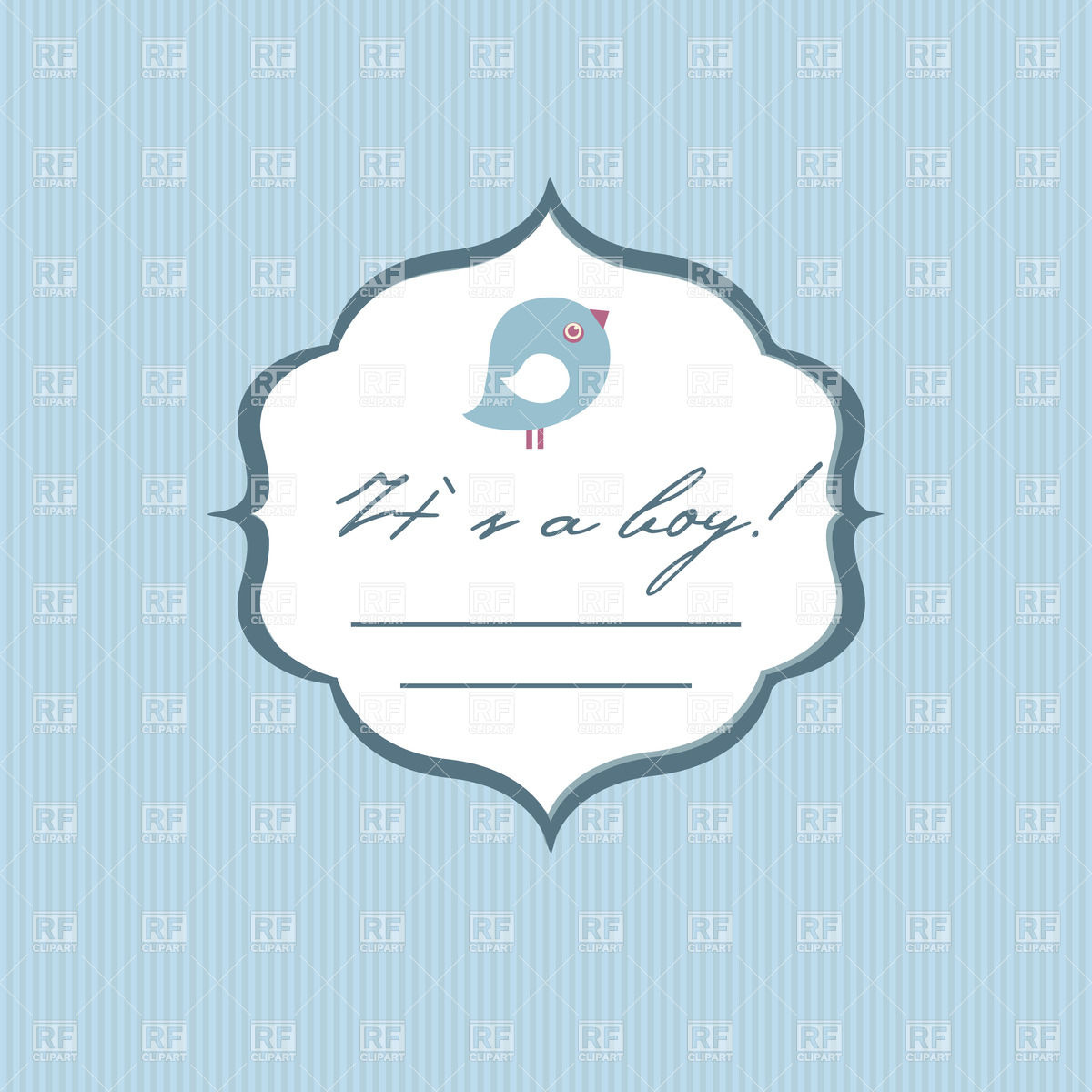 1200x1200 Baby Boy Birth Announcement Card With Cute Bird Vector Image