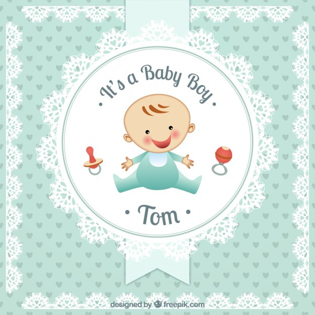 626x626 Baby Boy Card In Doily Style Vector Free Download