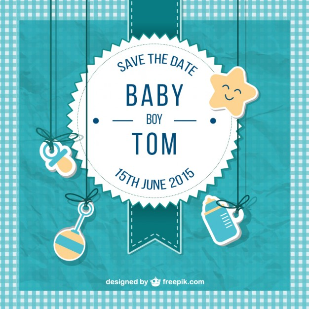 626x626 Baby Shower Card For Boy In Scrapbook Style Vector Free Download