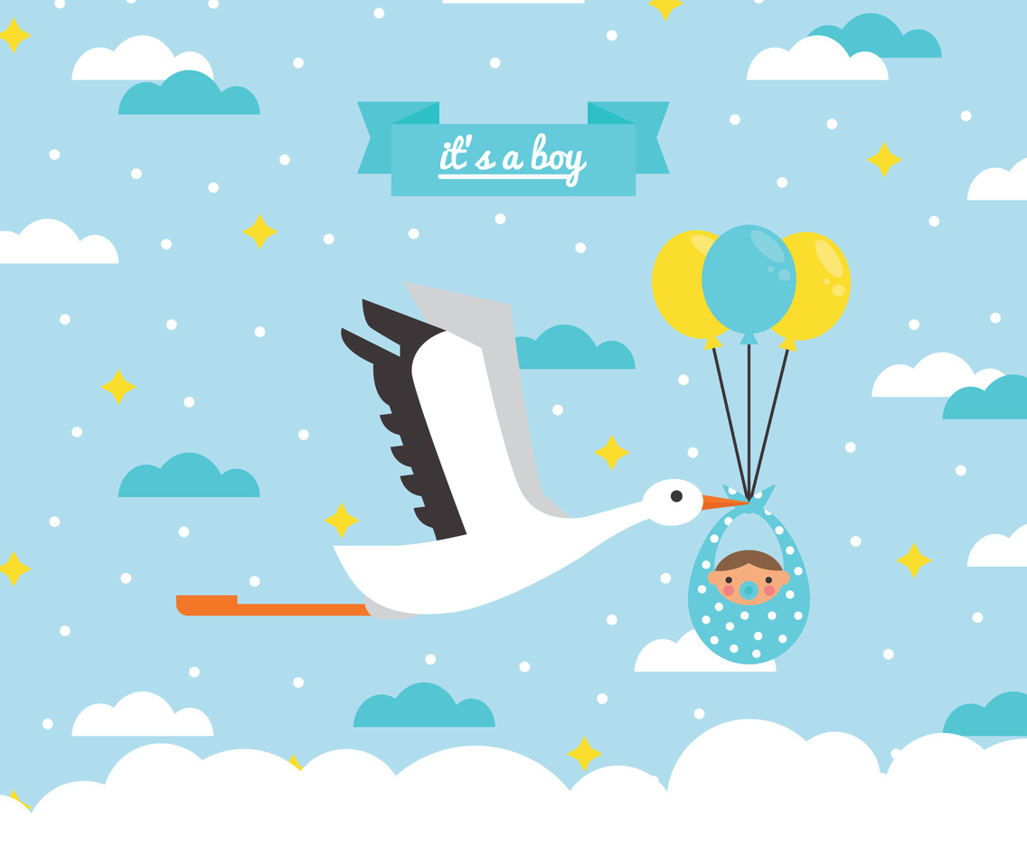 1136x936 A Stork Leaving A Baby Boy Vector Art Amp Graphics