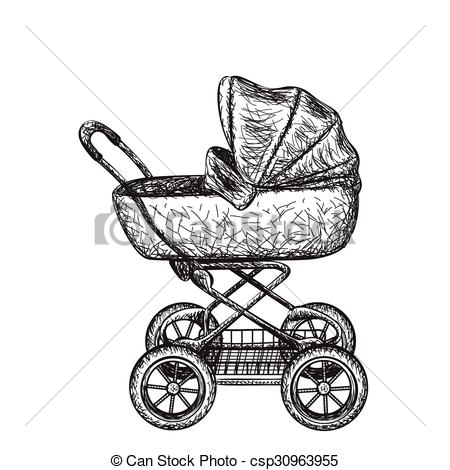 450x470 Baby Carriage. Hand Drawn Baby Stroller For Newborn Baby.