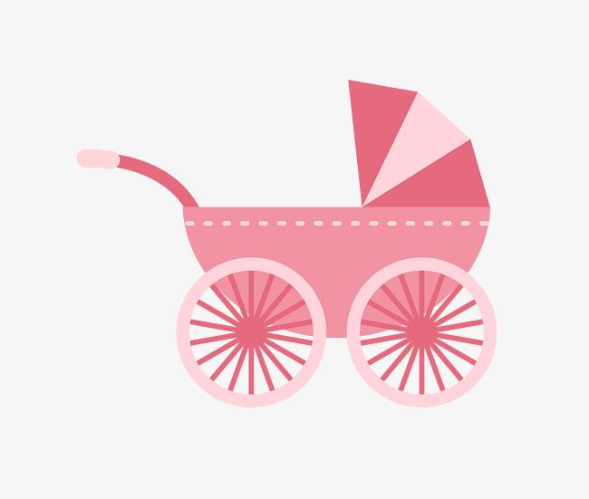 650x551 Vector Pink Childs Baby Stroller, Vector Stroller, Pink Stroller