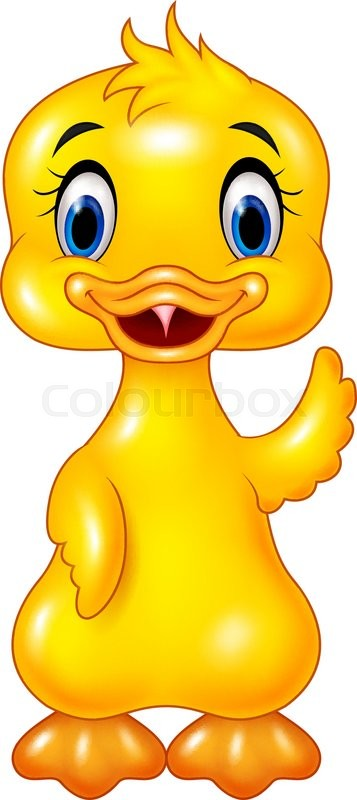 357x800 Vector Illustration Of Cute Baby Duck Hand Waving Isolated On