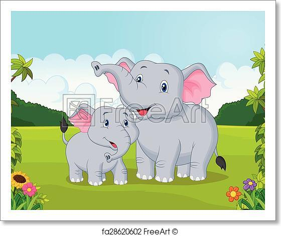 560x470 Free Art Print Of Cartoon Mother And Baby Elephant. Vector