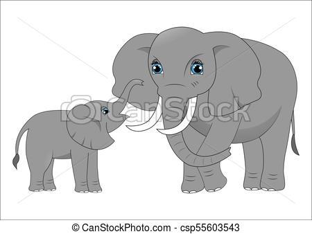 450x338 Mother Elephant And Baby Elephant.
