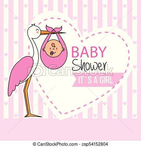 450x470 Baby Shower. Stork With Baby Girl.
