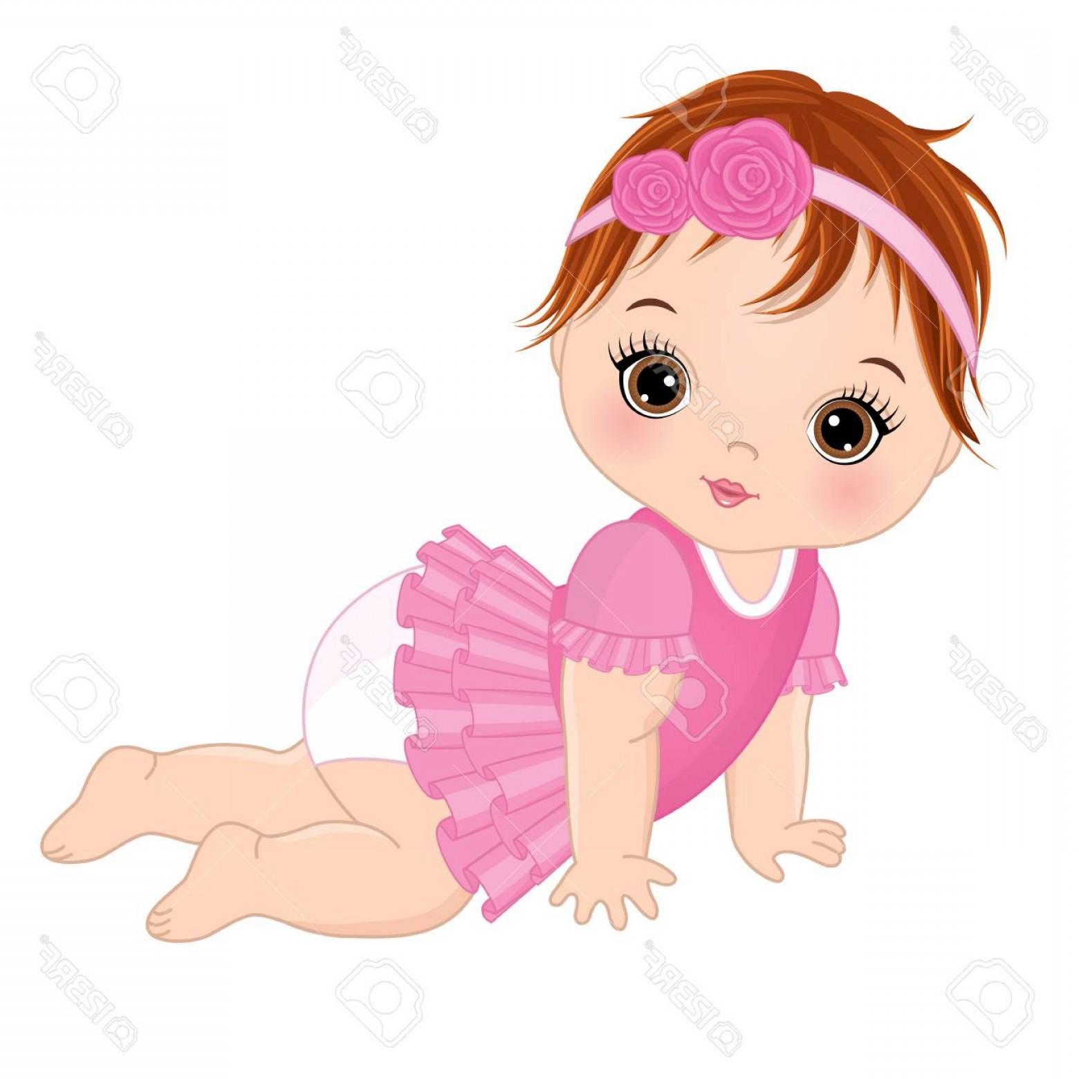 1560x1560 Photostock Vector Vector Cute Baby Girl Crawling Vector Baby Girl