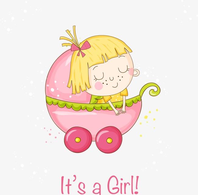 650x638 Vector Baby Girl In The Car, Baby Vector, Girl Vector, Car Vector