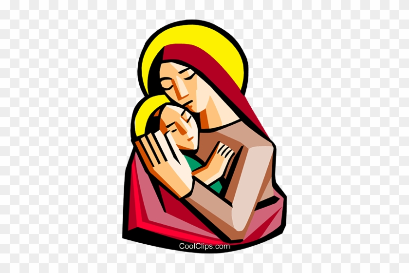 840x560 Mother Mary With Baby Jesus Royalty Free Vector Clip