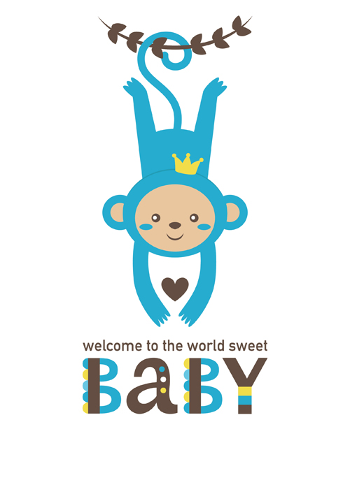 500x707 Baby Shower Card With Monkey Vector 05 Free Download