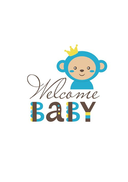 500x707 Baby Shower Card With Monkey Vector 06 Obezianki
