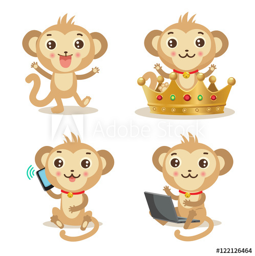 498x500 Funky Monkey. Vector Animal Illustration. Cute Monkey Pictures