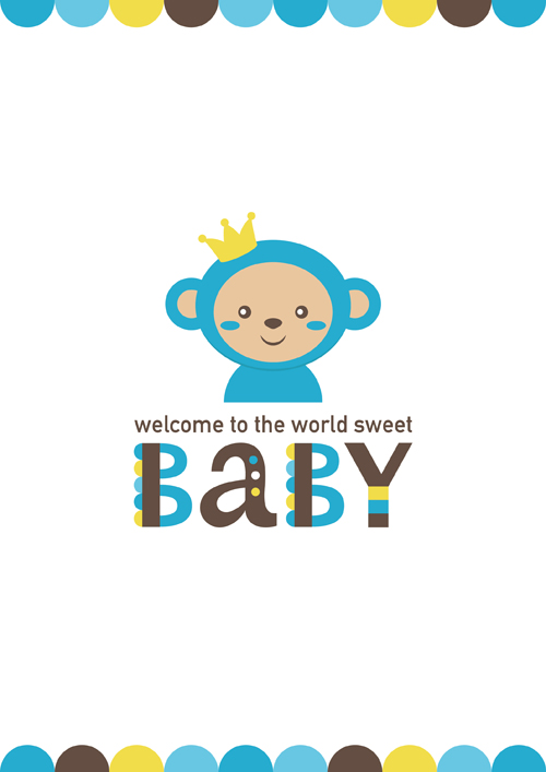 500x707 Baby Shower Card With Monkey Vector 04 Free Download