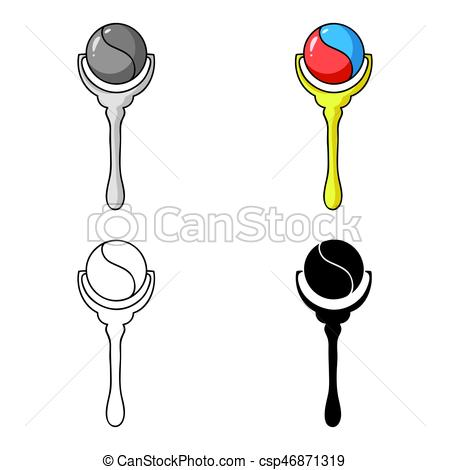 450x470 Baby Rattle Icon In Cartoon Style Isolated On White Background