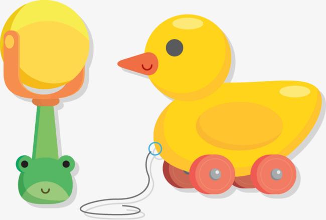650x439 Vector Cartoon Yellow Duck Toy Baby Rattles, Cartoon Vector, Duck