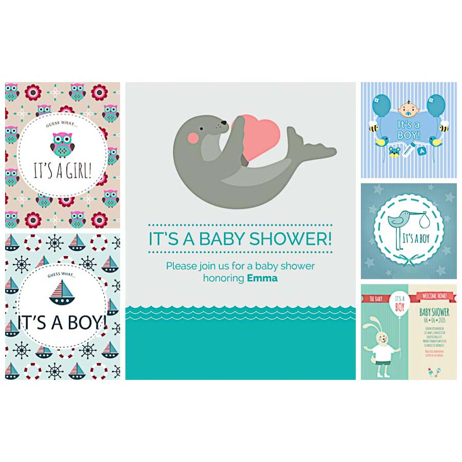 900x900 Baby Shower Card Cute Set Vector Free Download