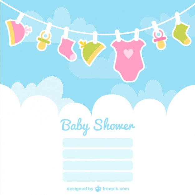 626x626 Baby Shower Card With Baby Clothes Vector Free Download