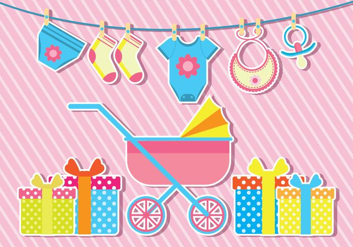 700x490 Babyshower Vector Illustration