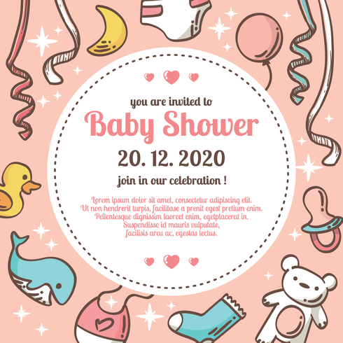 490x490 Babyshower Vector Illustration