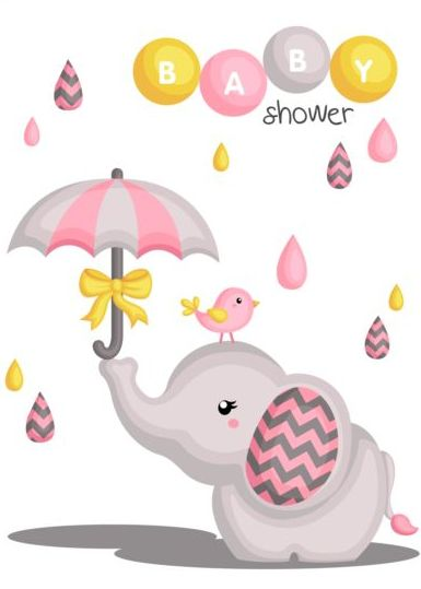 385x539 Cute Elephant With Baby Shower Card Vector Free Download
