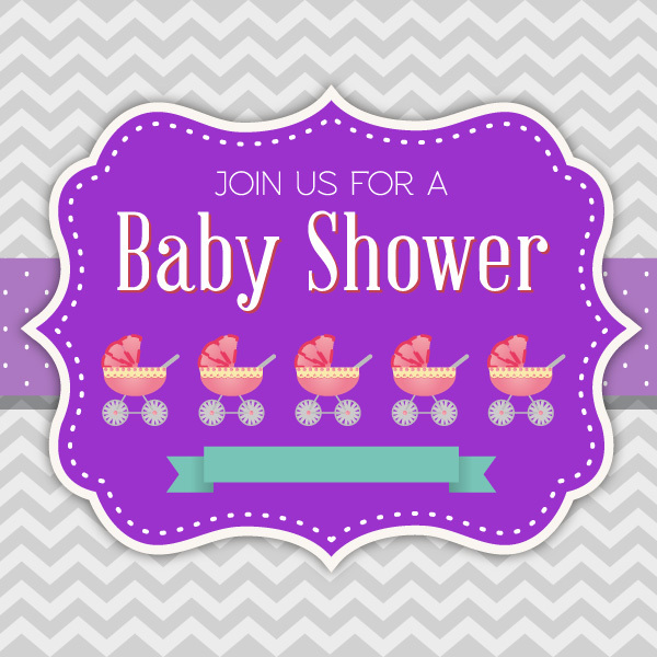 600x600 Free Vectors Baby Shower Invitation Vector Pink Moustache