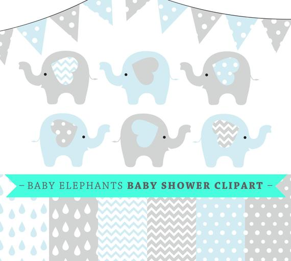 570x511 Premium Baby Shower Vector Clipart Baby Elephants Blue And Etsy